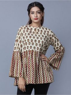 Ivory Maroon Hand Block Printed Cotton Gathered Top