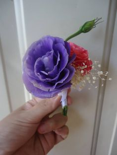 CBB164 Weddings Riviera Maya purple and pink boutonniere / Boda morado y rosa boutonniere