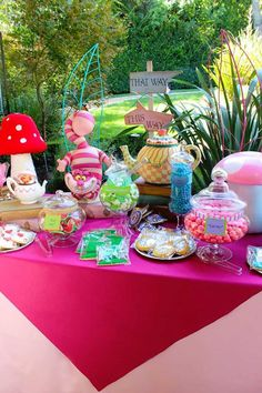 Sweet Table from an Alice in Wonderland Birthday Party via Kara's Party Ideas |