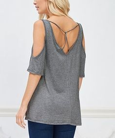 Complete your casual look with this comfy stretch-enhanced top that features flirty shoulder cutouts. Get The Look, Take That, Cut Out Top, Easter Outfit, Casual Looks, Charcoal, Tunic, Blouse, How To Wear
