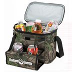 24 Can Camouflage cooler features PEVA heat sealed lining, durable 600D outer material, zippered closure, front zippered pocket, 2 front mesh pockets, front pocket with hook & loop flap, bottom stiffener, elastic straps and a shoulder strap.