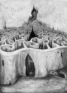 """No esperes que el rigor de tu camino  que tercamente se bifurca en otro,  que tercamente se bifurca en otro,  tendrá fin. Es de hierro tu destino"""" El Laberinto, Jorge Luis Borges"""
