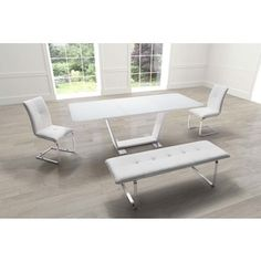 Shop for St. Charles Extension White Steel and Glass Dining Table. Get free shipping at Overstock.com - Your Online Furniture Outlet Store! Get 5% in rewards with Club O! - 16714497