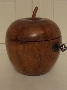 Antique Wooden Apple Tea Caddy Treenware Wood