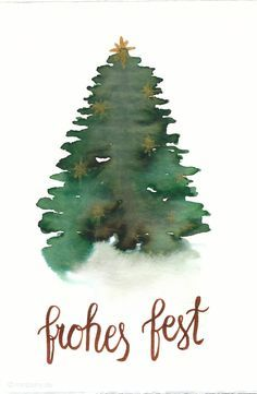 Watercoloring Christmas cards & wrapping gifts nicely- Make last minute cards for Christmas yourself Watercolor Christmas card with tree - Painted Christmas Cards, Watercolor Christmas Cards, Diy Christmas Cards, Christmas Games, Christmas Printables, Xmas Cards, Christmas Crafts, Christmas Ornaments, Cards Diy
