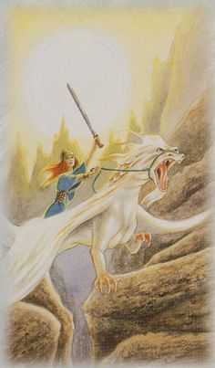 Celtic Dragon Tarot (DJ Conway, Lisa Hunt): Knight of Swords