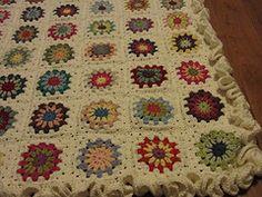 Debbie Bliss Baby Cashmerino crochet baby blanket, circle-in-a-square, ruffle edge Baby Blanket Crochet, Crochet Baby, Knit Crochet, Granny Square Blanket, Granny Squares, Crafty, Knitting, Handmade, Ruffles