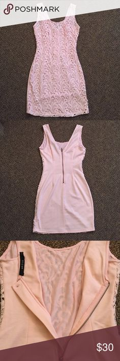 Ark & Co Dress Lovely lace. Pretty light pink color! Fits like a glove. Perfect for a sexy date or going out. Never worn! Ark & Co Dresses Mini