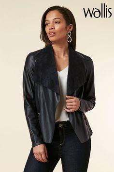 Buy Wallis Blue Ink PU Waterfall Jacket from the Next UK online shop Waterfall Jacket, Wallis, Next Uk, Uk Online, Bomber Jacket, Leather Jacket, Ink, Blazer, Jackets