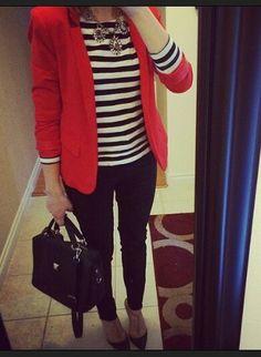 Red blazer, stripped shirt n black jeans