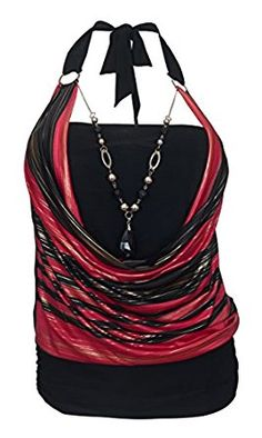 9f5f74bc313 eVogues Plus size Glitter print Necklace accented O-ring strap top at  Amazon Women s Clothing