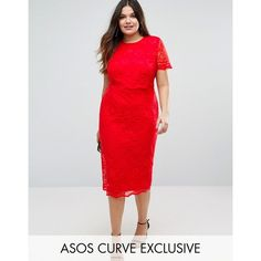 ASOS CURVE Lace Crop Top Midi Pencil Dress ($74) ❤ liked on Polyvore featuring dresses, plus size, red, slimming dresses, women's plus size dresses, plus size pencil dress, lace dress and plus size dresses