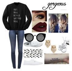 """""""Gorgeous Babe #2"""" by mahomiexxlove on Polyvore featuring J Brand, Vans, Topshop, Quay, Disney and Kate Spade"""