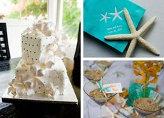 Starfish place settings and fondant plumeria flowers are perfect details for a Hawaii wedding #details #beachwedding