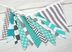 Bunting Banner, Photo Prop, Flags, Birthday, Baby Shower, Nursery Decor - Gray, Teal, Grey, Turquoise, Chevron, Stripe - Ready to Ship