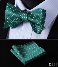 Cotton Blend Polka Dot 100%Silk Men Butterfly Self Bow Tie BowTie Pocket Square Handkerchief Hanky Suit Set #D4