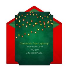 """We are loving this free """"Holiday Lights"""" invitation design. It's great for a holiday party or a Christmas celebration. Easily personalize and send via email for a memorable gathering with family and friends! Modern Christmas Decor, Christmas Ideas, Christmas Decorations, Christmas Tree, Holiday Decor, We Are Love, Online Invitations, Deck The Halls, Holiday Lights"""