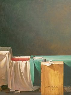 """Yue Minjun, ''The Death of Marat,'' 2002. """"In his series 'Landscapes with No One,' Mr. Yue reproduces both well-known Chinese socialist paintings and classics of Western art with the protagonists conspicuously absent."""""""