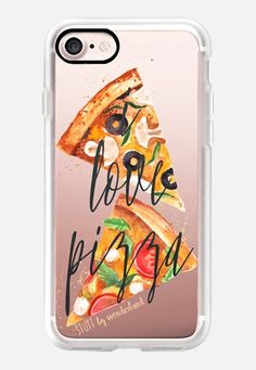 Casetify iPhone 7 Classic Grip Case - I Love Pizza Watercolor iPhone Case by STUFFxWonderland #Casetify