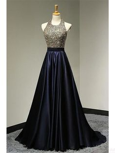 Halter Beading Bodice Backless Long Satin Prom Dresses Evening Dresses #SIMIBridal #promdresses