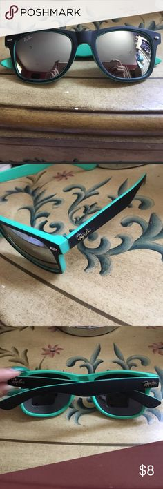 Wayfarer sunglasses Black on the outside and green aqua color on the inside. Mirrored lens Accessories Sunglasses