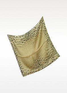 Roberto Cavalli Leopard Silk Square Scarf | FORZIERI