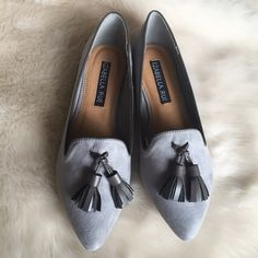 """Gray Suede Pointed Toe Tassel Loafers New in box, never worn. Faux suede. Pointed toe. Dark gray tassels at toes. .5"""" heel height. ❌NO TRADES OR PAYPAL❌ Izabella Rue Shoes Flats & Loafers"""