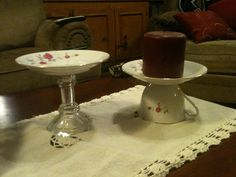 Use your old cup and saucer and make candle holder. Or glue saucer to a candlestick.