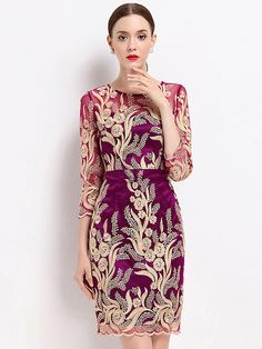 Buy Chic Embroidery Mesh O-neck Three Quarters Sleeve Dress with High Quality and Lovely Service at DressSure.com #DressSure