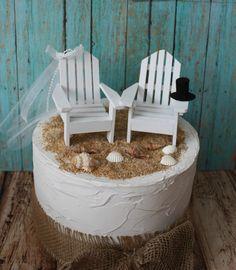 Bride and groom Adirondack chairs-Adirondack-beach-chairs-beach wedding-custom-nautical-wedding cake topper-beach chairs-destination