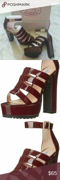 """Burgundy Patent Chunky Steve Madden's These are brand new, comes with box. 5.5"""" heel including the 2"""" platform. Perfect condition. PU Upper Leather lining Rubber/Plastic Outsole. Color is Burgundy. Size is an 8 however they run a tad bit large, listed as a 7.5 for this reason!  Offers welcome! Steve Madden Shoes Platforms"""