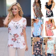 03901800d61 Tops Womens Ladies Summer Boho Floral T Shirt Tops Shirts Loose Casual  Blouse Tee