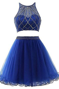 Royal Blue Two Pieces Homecoming Dress, Short Mini Prom Dress with Beading ,Fashion School Dance Dress, Custom Made Sweet 16 Dress Source by 16 dresses two piece Dama Dresses, Two Piece Homecoming Dress, Blue Homecoming Dresses, Cute Prom Dresses, Grad Dresses, Party Dresses, Quinceanera Dresses, Evening Dresses, Bridesmaid Dresses