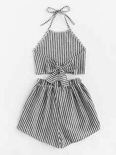 Striped Bow Open Back And Shorts Set -SheIn(Sheinside) Girls Fashion Clothes, Teen Fashion Outfits, Mode Outfits, Girl Fashion, Girl Outfits, Crop Top Outfits, Cute Casual Outfits, Stylish Outfits, Mode Kpop