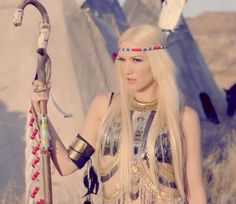 "Cheif of the tribe- Gwen Stefani in our Spellbound body piece in No Doubt's ""Lookin Hot"" music video"