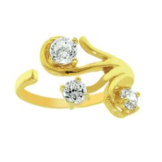 14k toe rings cz | Details about Adjustable Diamonique CZ Toe Ring REAL 14K Yellow Gold