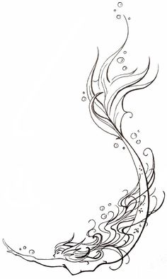 mermaid... I'm thinking of this as a tattoo. I'll add color, I'm going for a watercolor look. | re-pinned by http://www.wfpblogs.com/category/southfloridah2o