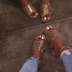 10 Best gold flat sandals images | Sandals, Me too shoes