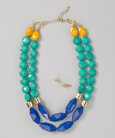 Green & Navy Bead Trio Necklace & Earrings by Khloe Collection is perfect! #zulilyfinds