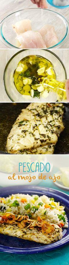 Pescado al mojo de ajo para Cuaresma. Esta receta fácil con pescado es muy mexicana y necesita pocos ingredientes. ¡Te encantará!