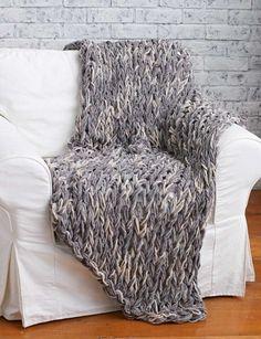 Arm Knit Blanket - FREE Pattern | Yarnspirations | Chunky Knit Blanket