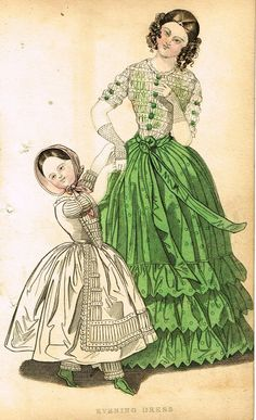 """Lady's Cabinet Fashion Plate - """"EVENING DRESS (GREEN)"""" - Hand-Colored Engraving - 1840"""