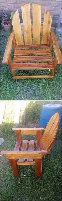 Pallet garden chair idea has definitely come up to be one of the most popular and best idea for the beautification of your house seating areas. This pallet chair design would come up as one of the attractive creation of your house location as it is set with the shape of the seat coverage. Wood Pallet Tables, Pallet Chair, Wooden Pallets, Pallet Wood, Amazing Pallet Ideas, Pallet Closet, Pallet Furniture Plans, Diy Furniture, Chair Repair