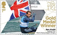 London 2012 Olympic: Royal Mail stamps of the gold medalists - Ben Ainslie who won sailing gold.