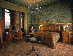 The Lower India Room at Penrhyn Castle, created in the 1830s, with its Chinese wallpaper.
