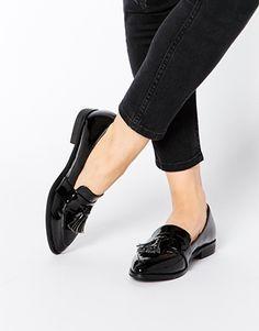 Daisy Street Black Patent Tassel Flat Loafer Shoes