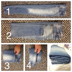 It might feel like overkill, but this super condensed way of folding jeans allow. It might feel like overkill, but this super condensed way of folding jeans allows you to store 'e Jean Organization, Closet Organisation, Bedroom Organization Diy, Clothing Organization, Organizing Clothes Drawers, Organize Dresser Drawers, Dresser Organization, Clothes Storage, How To Fold Jeans