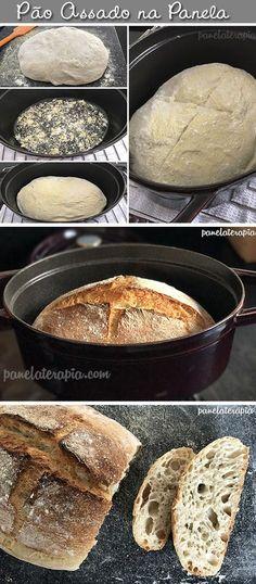 Pão assado na panela