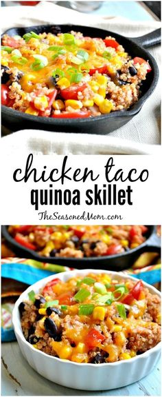 my chicken taco quinoa skillet comes together in just minutes is full of protein and