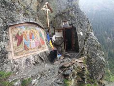 """agios-o-theos: """" """"The cave in the mountains above Sambata monastery where the Romanian elder, Fr. Arsenie Boca, would retreat for fasting and prayer in solitude. Catholic Art, Religious Art, Houses Of The Holy, Orthodox Christianity, Churches Of Christ, Christian Church, Christian Art, World Religions, We Are The World"""
